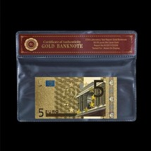 EUROPEAN UNION BANKNOTE - Colored 5 Euro Real 24k Gold Bill Note In Myla... - $5.77