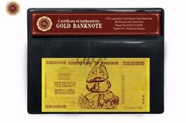 50 Trillion Dollars Zimbabwe Gold Banknote Fine 24k Gold Free Certificat... - $5.00