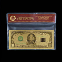24k Fine Gold Plated US Dollar Banknote Colored $1000 Uncirculated In CO... - $5.77