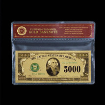 $5000 Dollar Note Genuine 24K Gold Foil Plated US Banknote Free Plastic ... - $5.77