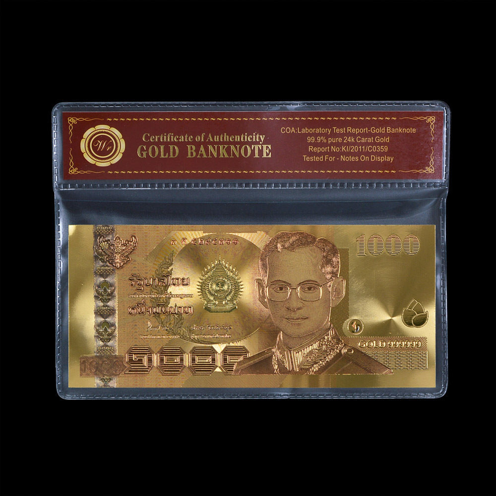 50 Baht Colored Thailand Gold Banknote Home Decoration Gift World Paper Money
