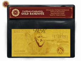 1975 Italy 20000 Lire Gold Banknote Pure Gold Plated TIZIANO Note /w COA... - $5.00