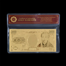 WR Japan Banknote 5000 Yen Fine Gold Plated Banknote Artwork Japanese So... - $5.00