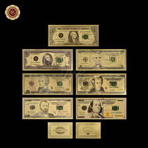 7PCS Gold Banknote Set New $100 - $1 US 999 Pure 24k Colored Dollar Note... - $26.37