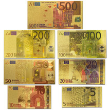 24K Gold Plated Euro Banknote Set Of 7PCS 5 - 500 Euro Bill Note Colored... - $26.37