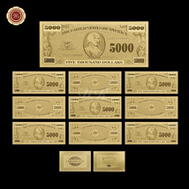 Unique Lot of 10PCS $5000 U.S Bill Real 24k Gold Banknote Dollar Note Fr... - $33.52
