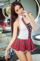 82f014 Sexy supper mini plaid dress, free size - $32.80
