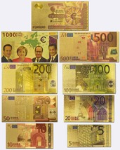 Lots Of 9pcs Euro Gold Banknotes Set Full Colorized Europe Notes Collect... - $34.35