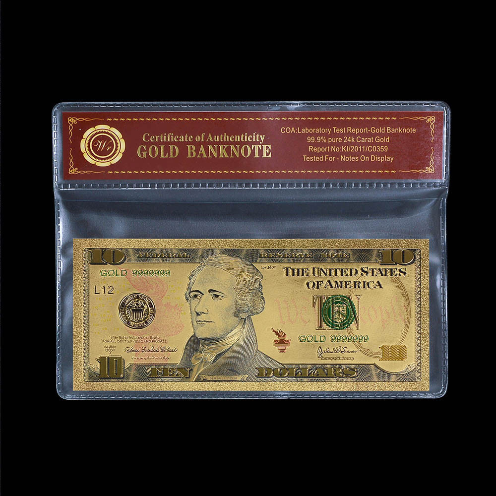A One US $10 Banknote USD 24k Gold Foil Plated Paper Money Dollar Bill