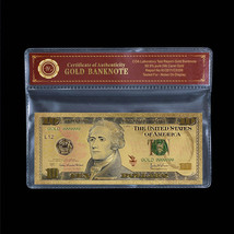 Colorful US Dollar Note $10 Ten Dollars 24k Gold Foil Banknote With Cert... - $5.77