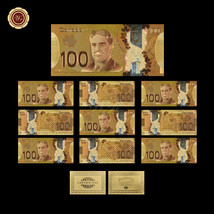 10pcs/lot Canada 100 Dollar Color Gold Banknote One Hundred Dollars Bill... - $37.26