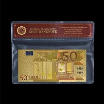 Novelty 50 Euro Colored European Note .999 24K Gold Foil Banknote Free C... - $5.77