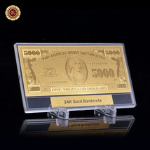 WR Gold Foil Art $5000 US Dollar Polymer Banknote In Display Box Currenc... - $9.50