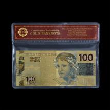 WR Brazil Banknote Colorful 100 Reais 24k Gold Foil 2010 Edition Bill No... - $5.00
