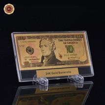 WR $10 Ten Dollar US Banknote Colorful 3d Gold Foil Money Bill In Plasti... - $11.17