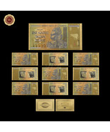 10pcs Zimbabwe 100 Trillion Dollars Banknotes Colorful 24k Gold Note Col... - $37.73