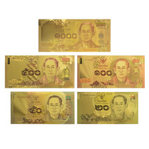 Colored Thailand Gold Banknote 20-50-100-500-1000 Baht Series Completed ... - $16.70