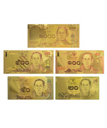 Colored Thailand Gold Banknote 20-50-100-500-10... - $311,39 MXN