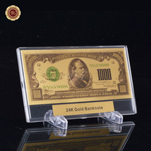 WR $1000 999 24k Gold Banknote Colored US Dollar Bill Note + Plastic Sla... - $11.17