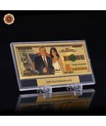 One Hundred Trillion US Trump Banknote Color 24k Gold Foil Note + Displa... - $9.50