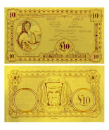 Rare & New Ireland 10 Pounds 24k Gold Leaf Old Banknote Gift For Collection - $3.60