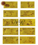 NEW ZEALAND Dollar Gold Banknote Set 5/10/20/50/100 Dollars Paper Stytle... - €14,84 EUR