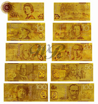 5 PCS Australia Polyester Banknote Set Plated With 24k Gold Foil AUD Dol... - $16.70