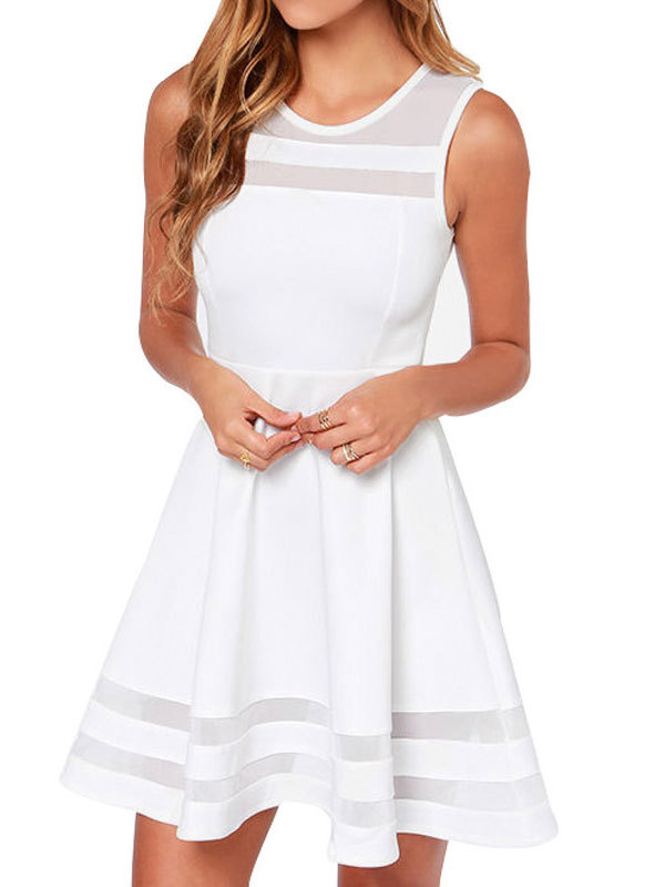Summer sleeveless gauze stitching openwork linen cotton mini dress1