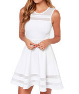 Summer Sleeveless Gauze Stitching Openwork Linen Cotton Mini Dress - £19.15 GBP