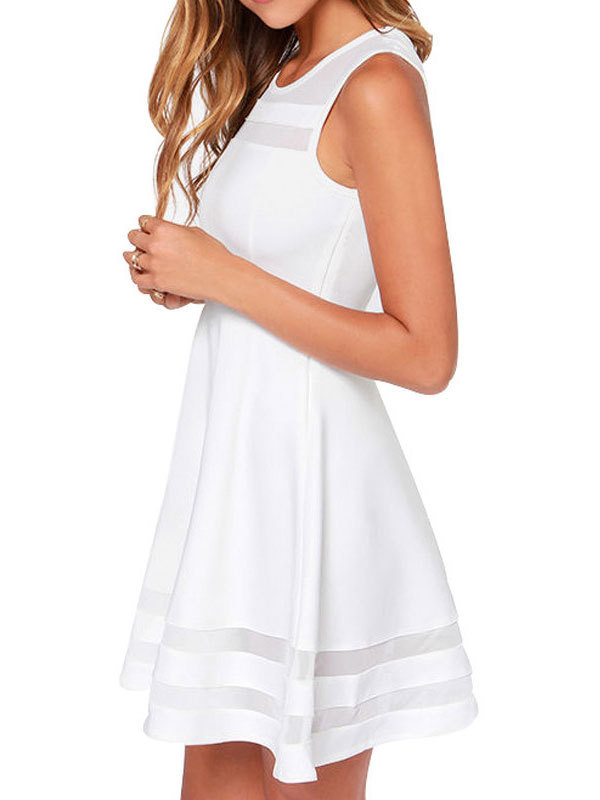 Summer sleeveless gauze stitching openwork linen cotton mini dress2