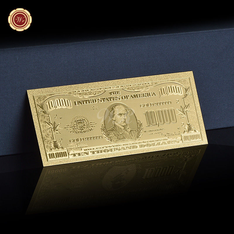 10PCS U.S Dollar Notes $10000 Pure Gold Banknote Uncirculated Bill Lot Free COA