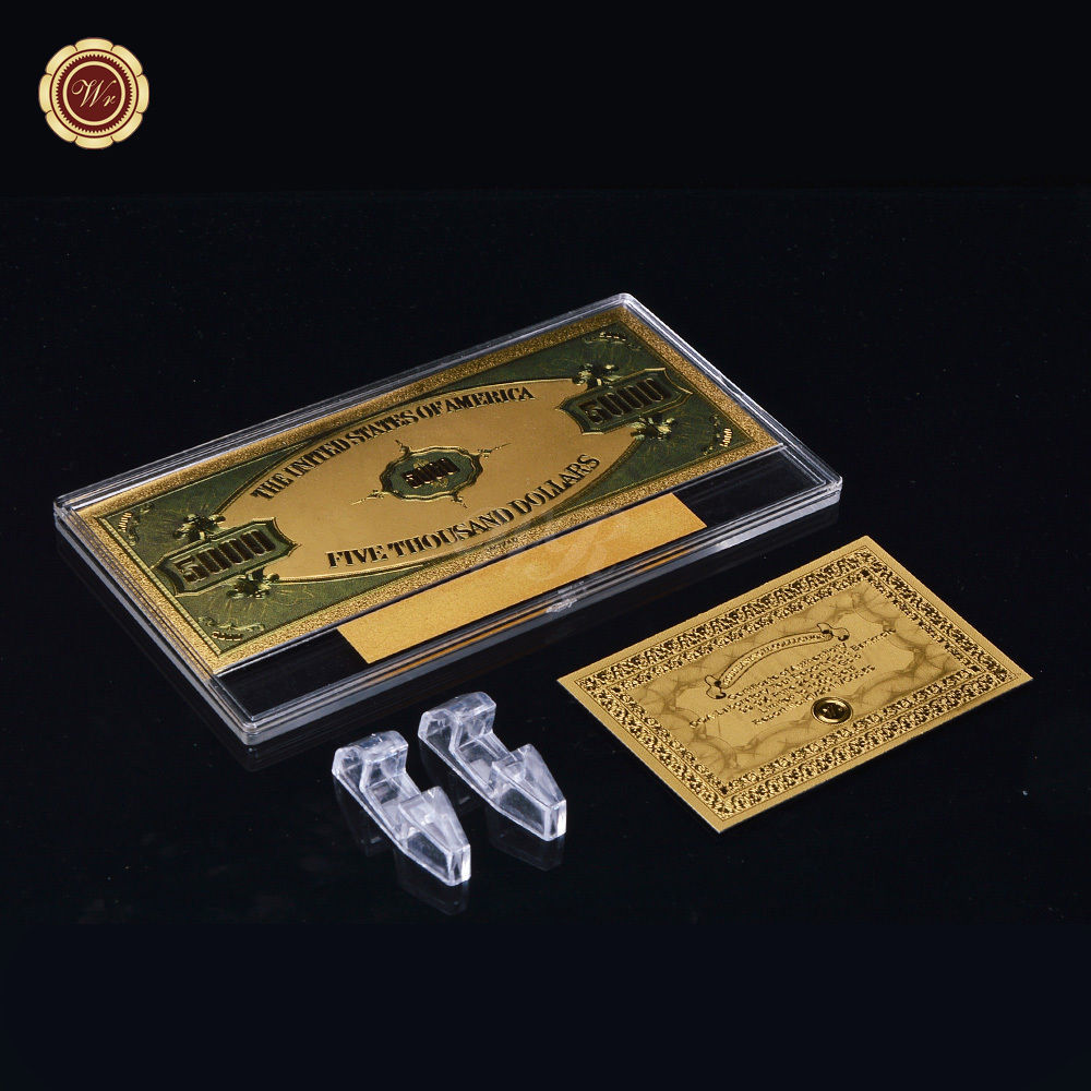 Wr banknote us 5000 five thousand dollar colored 24k gold for Build a house for under 5000 dollars