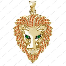 Solid .925 Silver Men's RD Sapphire 14k Yellow Gold Finish Bahubali Lion Pendant - $94.55