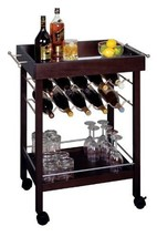 Bar Cart, Mirror Top, wine rack by Winsome - $249.95