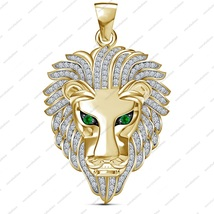 Men's 14k Yellow Gold Plated Pure Sterling 925 Silver Lion Head Bahubali Pendant - $94.55
