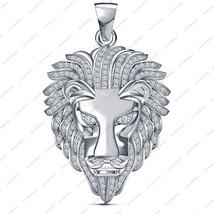 14k White Gold Plated 925 Silver Round Cut CZ Classy Lion Head Bahubali Pendant - $86.97