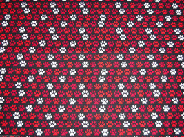 Paw Prints Red White Black Fabric Hair Scrunchie Scrunchies by Sherry Ponytail  - $6.99