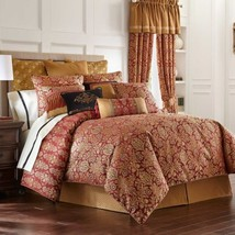Waterford ALHAMBRA 8P Queen Comforter Set Red Gold - $376.15