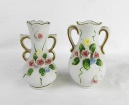 Vintage Lefton China bud vase hand painted porcelain home decor Japan se... - $24.70