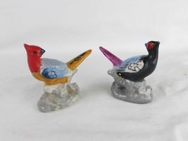 Vintage miniature hand painted porcelain birds Japan set of 2 collectible - $17.77