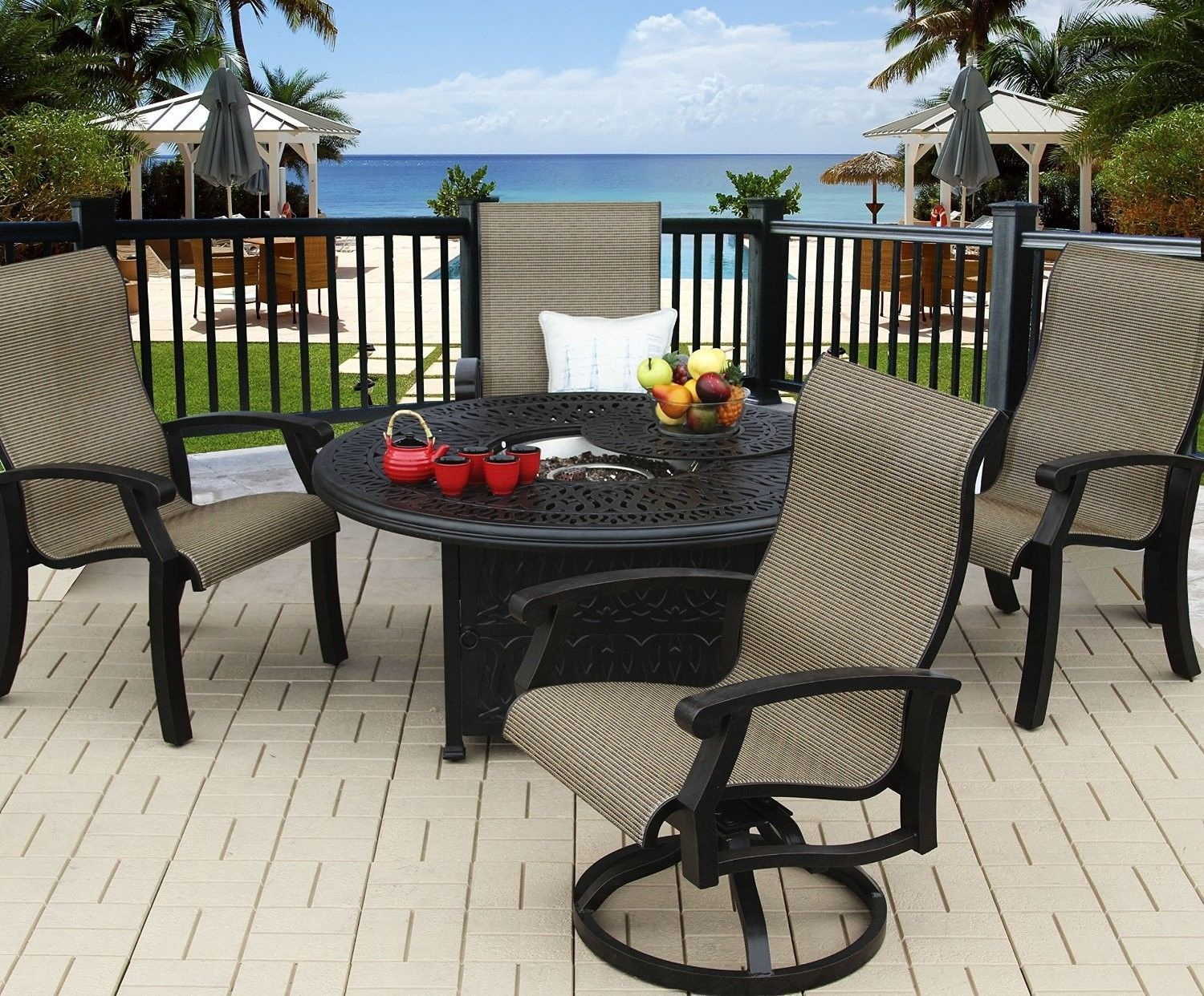 "BARBADOS SLING OUTDOOR PATIO 5PC FIRE PIT SET WITH 52"" ROUND FIRE TABLE"