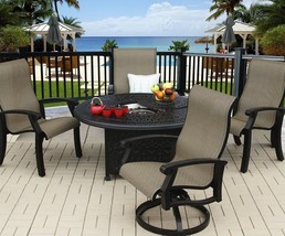 "BARBADOS SLING OUTDOOR PATIO 5PC FIRE PIT SET WITH 52"" ROUND FIRE TABLE - $3,127.41"