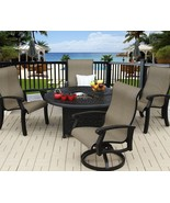 """BARBADOS SLING OUTDOOR PATIO 5PC FIRE PIT SET WITH 52"""" ROUND FIRE TABLE - $3,127.41"""