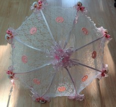 "36"" White Lace baby babies shower umbrella Pink  ducks & pacifiers - $27.71"
