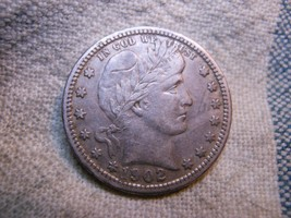 1902 BARBER 90% SILVER QUARTER - BETTER GRADE - $39.99