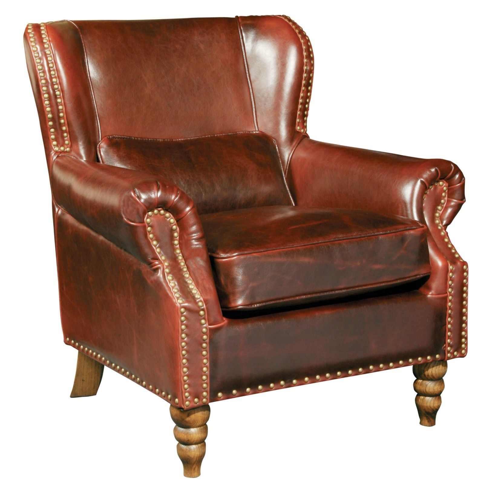 Living room furniture tall wingback brown genuine leather club chair 35 5 39 39 h chairs for Wingback recliner chairs living room