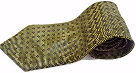 Yves Saint Laurent YSL Tie Gold Check Dotted Mens Necktie - €31,36 EUR