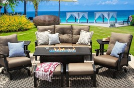 BARBADOS CUSHION ALUMINUM OUTDOOR PATIO 8PC SET SOFA, 2-CLUB SPRING ROCKER  - $6,151.86
