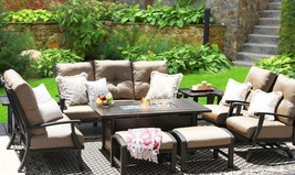 BARBADOS CUSHION ALUMINUM OUTDOOR PATIO 8PC SET - $7,123.05