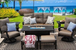 BARBADOS CUSHION ALUMINUM OUTDOOR PATIO 8PC SET SOFA, 2-CLUB SWIVEL ROCKER  - $6,151.86